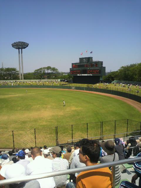 日焼け覚悟の野球観戦